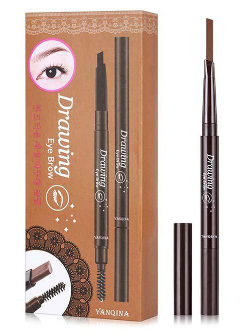 Double Ended Long Lasting Waterproof Rotate Eyebrow Pencil - DEEP COFFEE