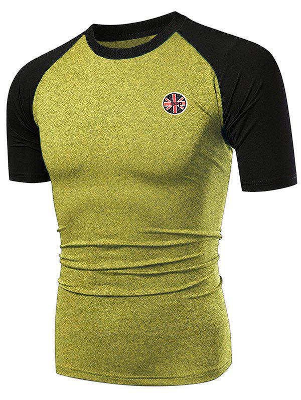 Applique Contrast Color Fast Dry Breathable Activewear T-shirt - CORN YELLOW 3XL