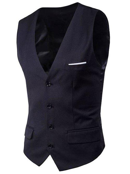 Modern Solid Color Fit Suit Separates Business Vest - BLACK M