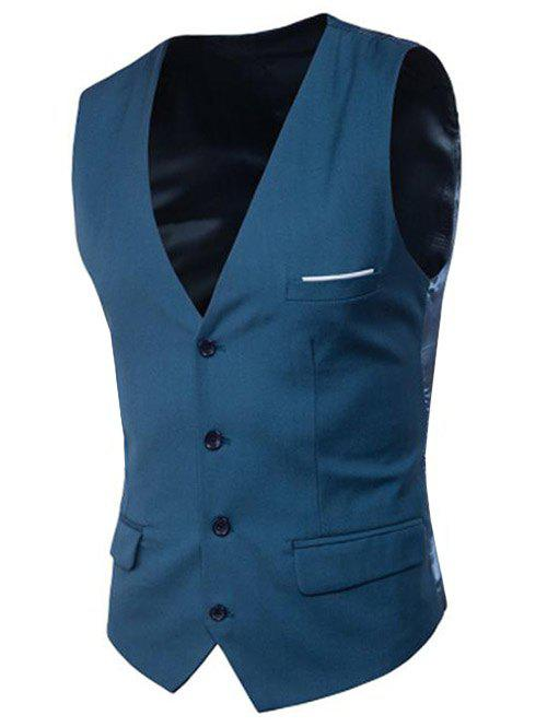 Modern Solid Color Fit Suit Separates Business Vest - OCEAN BLUE 3XL