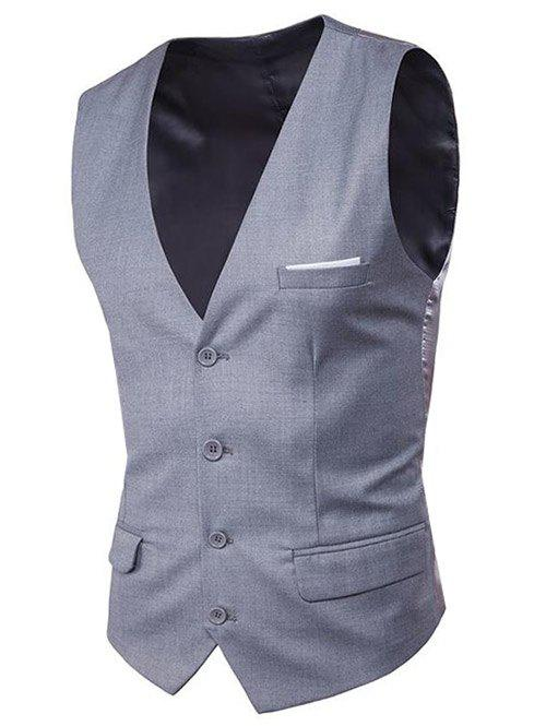 Modern Solid Color Fit Suit Separates Business Vest - LIGHT GRAY M