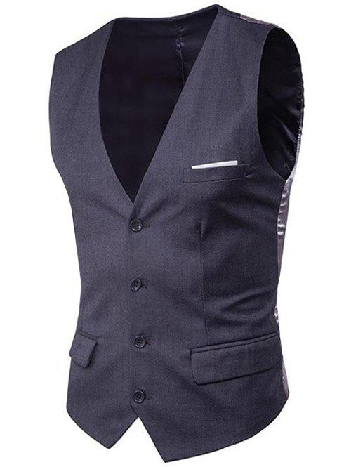 Modern Solid Color Fit Suit Separates Business Vest - DARK GRAY 3XL