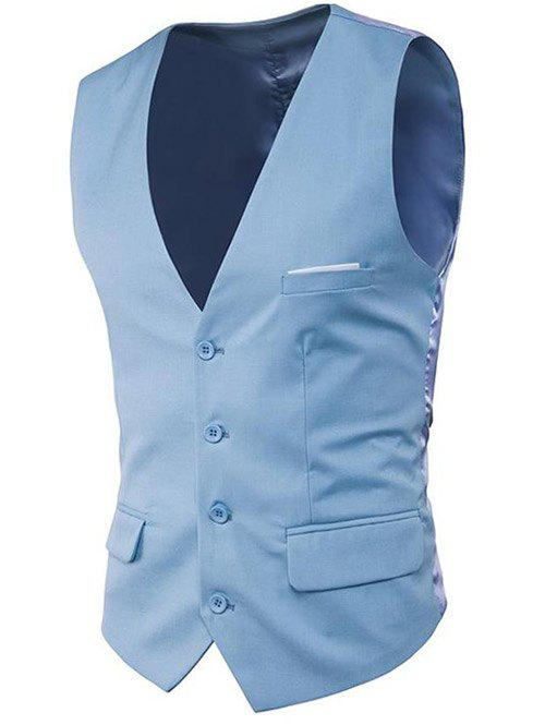 Modern Solid Color Fit Suit Separates Business Vest - SKY BLUE M