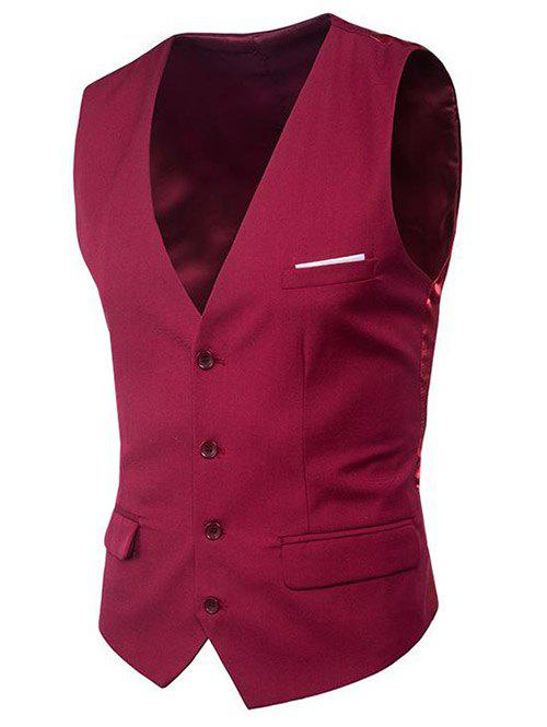 Modern Solid Color Fit Suit Separates Business Vest - RED WINE 2XL