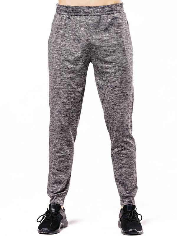Stretchy Waist Two Pockets Sports Jogger Pants - DARK GRAY M