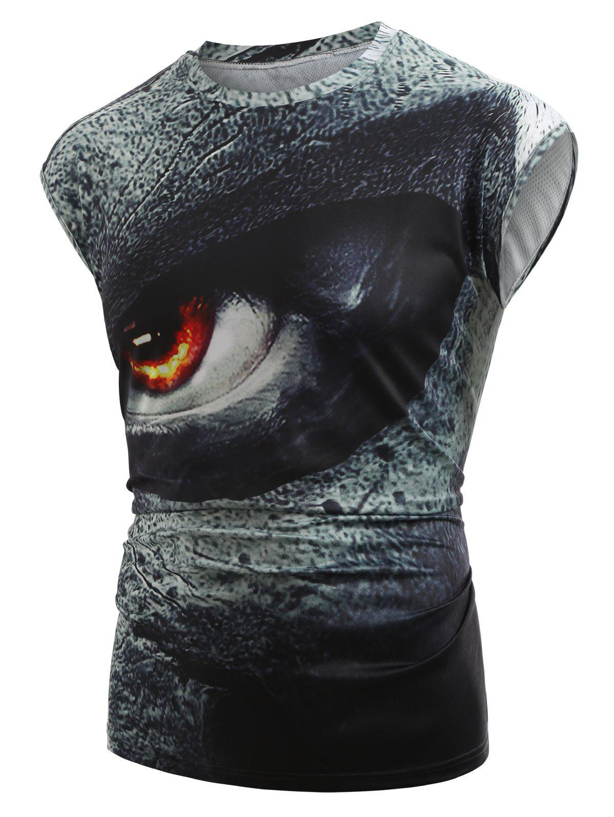Casual 3D Angry Eyes Print Tank Top - GRAY S