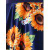 Sunflower Print Cap Sleeve A Line Dress - DEEP BLUE M