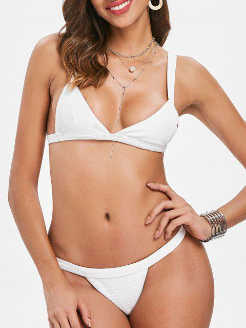 Ribbed Thong Bikini Set - WHITE S