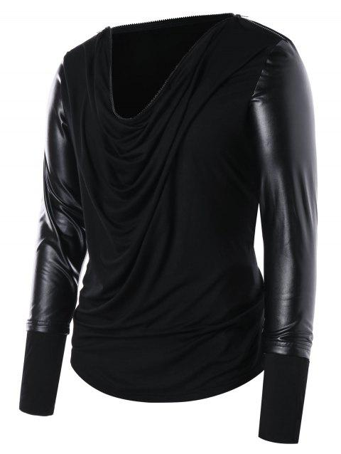 Zip Collar Long Sleeve Panel T-shirt - BLACK 2XL