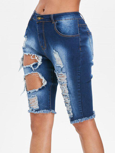 Zipper Fly Distressed Denim Shorts - JEANS BLUE L