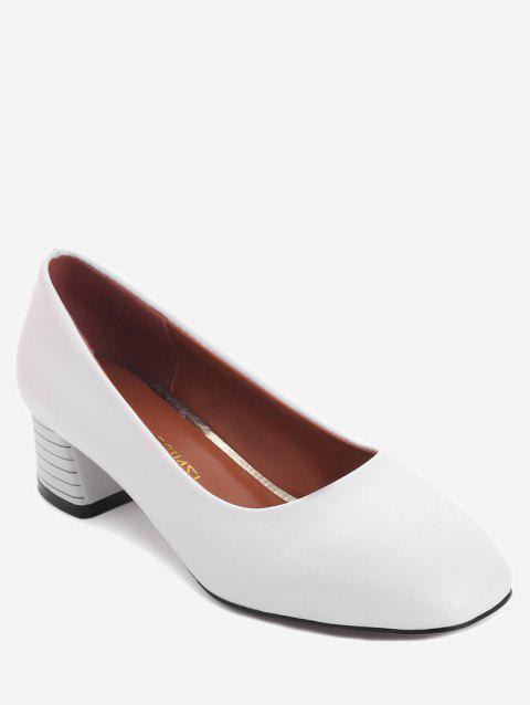 Plus Size Casual Block Heel Square Toe Pumps - WHITE 38