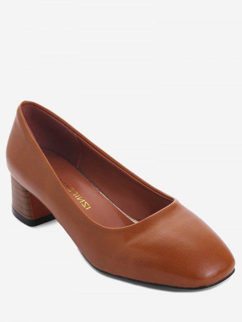 Plus Size Casual Block Heel Square Toe Pumps - BROWN 38