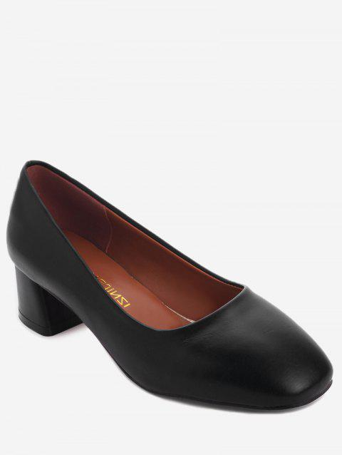 Plus Size Casual Block Heel Square Toe Pumps - BLACK 40