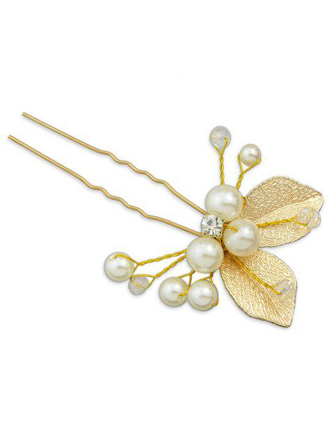 Vintage Artificial Pearl Leaves Decorative Hairpin - GOLD