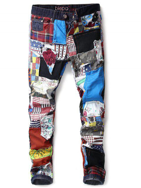 Colorful Fabric Spliced Buttons Fly Jeans - multicolor 34