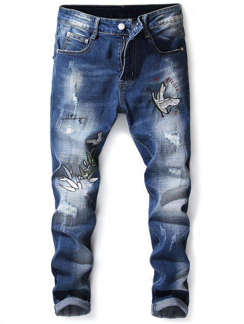 Crowned Crane Leaves Embroidery Hole Patches Jeans - BABY BLUE 38