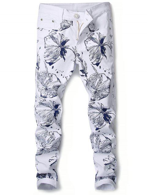Floral Print Zipper Fly Slimming Narrow Feet Jeans - WHITE 34