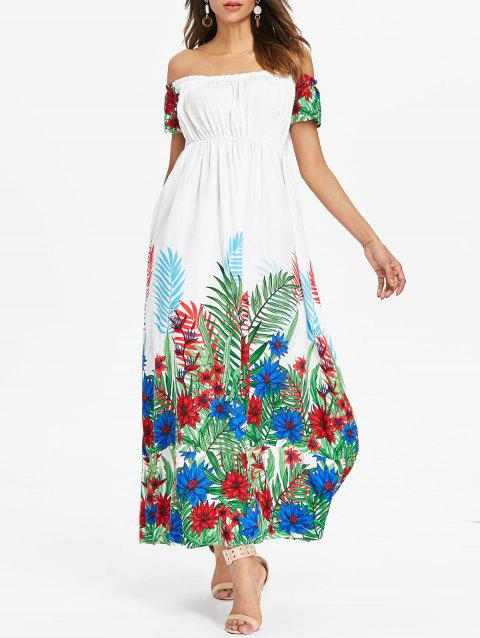 Off Shoulder Tropical Maxi Dress - WHITE 2XL