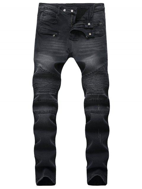 Patchwork Pleated Tapered Biker Jeans - BLACK 40