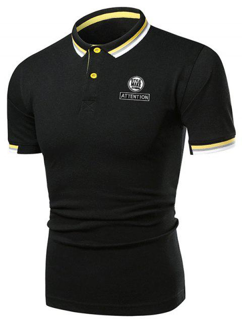 Multi-color Collar Graphic Polo Shirt - BLACK M