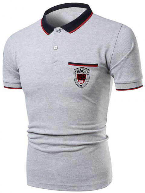 Polo Collar Striped Number Letter Casual Tee - GRAY CLOUD M