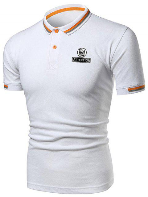 Multi-color Collar Graphic Polo Shirt - WHITE 3XL