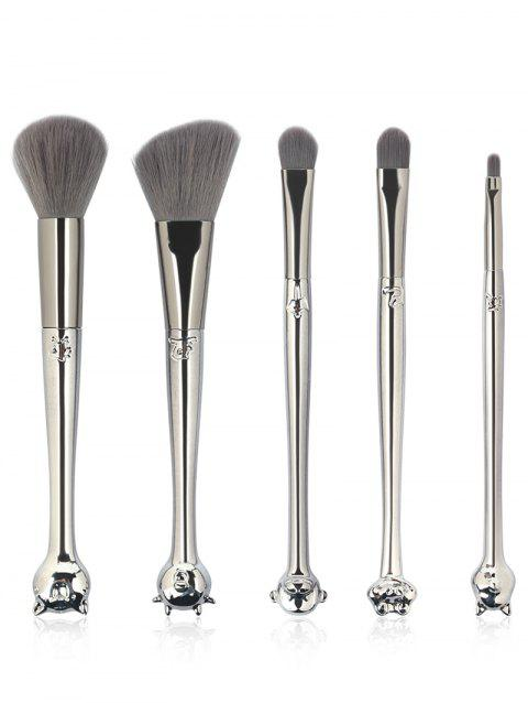 Chinese Zodiac Handle Decorative Synthetic Fiber Hair Cosmetic Brush Set - SILVER
