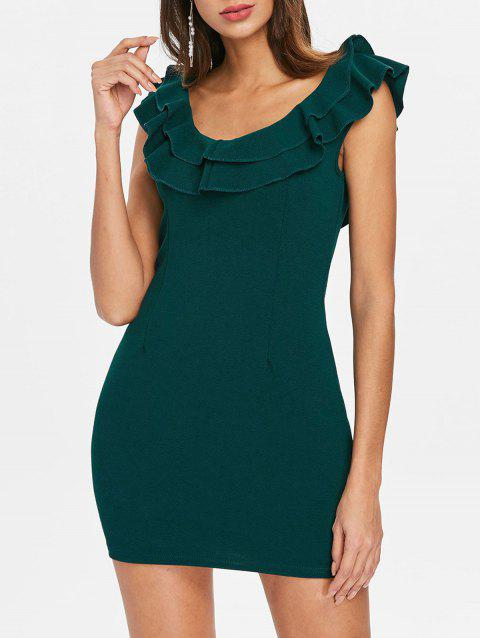 Ruffle Insert Bodycon Dress - MEDIUM SEA GREEN M