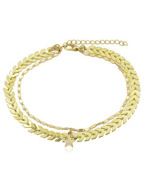 Arrow Chain Anklet With Star - GOLD