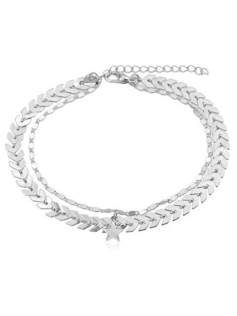 Arrow Chain Anklet With Star - SILVER