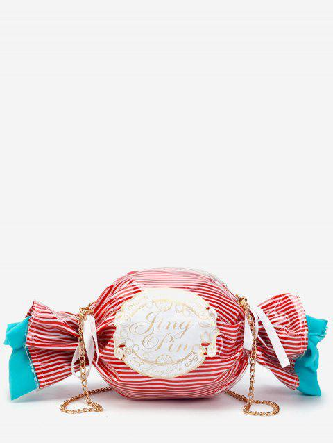 Striped Chic Candy Shaped Crossbody Bag - CHESTNUT RED