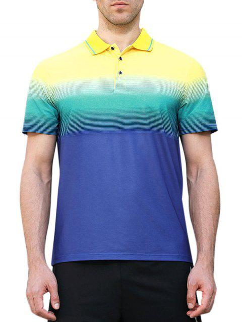 Polo Shirt de Gymnastique Absorption Humidité Rapide à Col en Blocs de Couleurs - Bleu Myrtille M