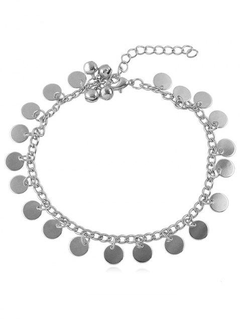 Jingle Bell Disc Chain Anklet - SILVER