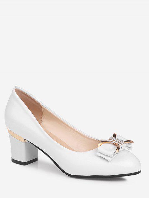Plus Size Chunky Heel Bowknot Chic Prom Pumps - WHITE 37