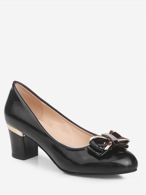 Plus Size Chunky Heel Bowknot Chic Prom Pumps - BLACK 42