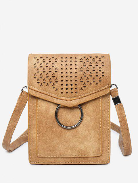 Hollow Out Metal Ring Practical Flap Crossbody Bag - BROWN VERTICAL
