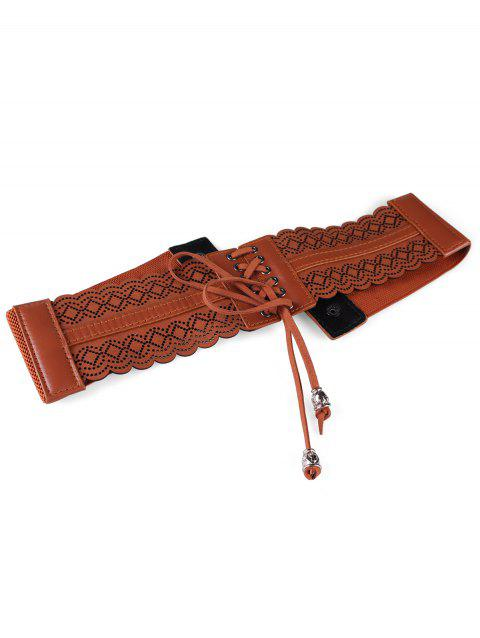 Vintage Hollow Out Rhombus Elastic Waist Belt - CAMEL BROWN