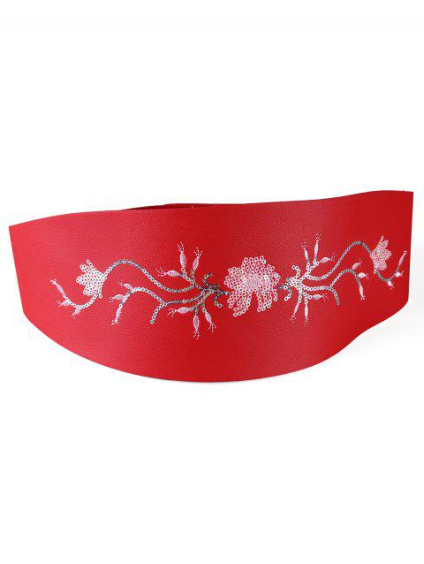 Retro Floral Sequins Decorative High Waist Belt - RED