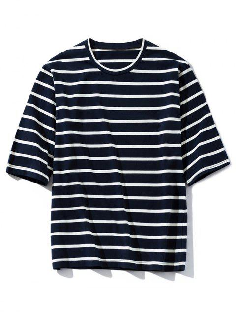 Stripe Round Neck Casual T-shirt - DEEP BLUE L