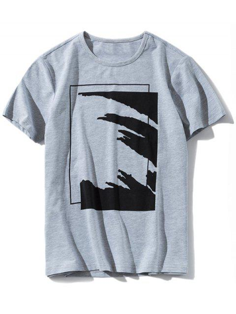 Graphic Round Neck Casual T-shirt - GRAY L