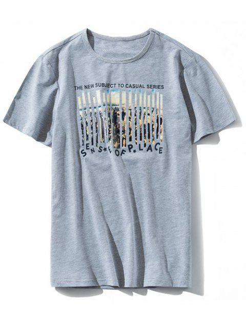 Graphic Letter Print Casual T-shirt - GRAY M