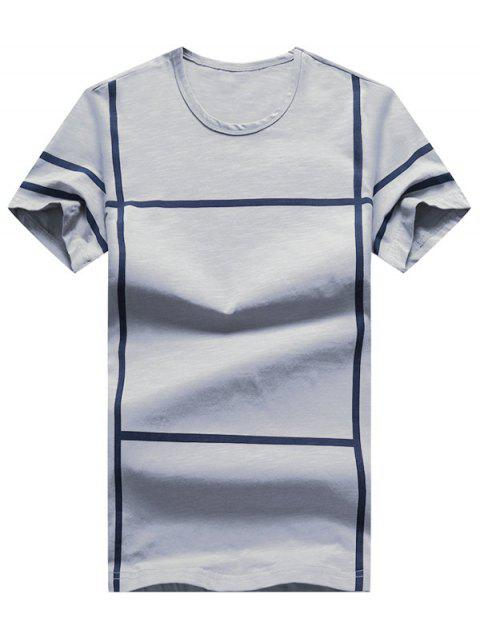 Cross Line Print Short Sleeve T-shirt - GRAY M