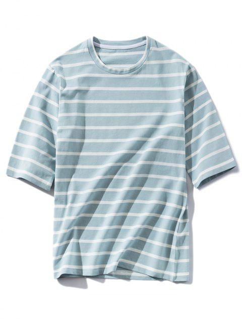 Stripe Round Neck Casual T-shirt - LIGHT BLUE L