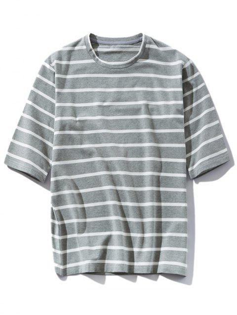 Stripe Round Neck Casual T-shirt - GRAY XL