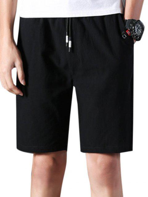 Elastic Waist Applique Casual Shorts - BLACK S