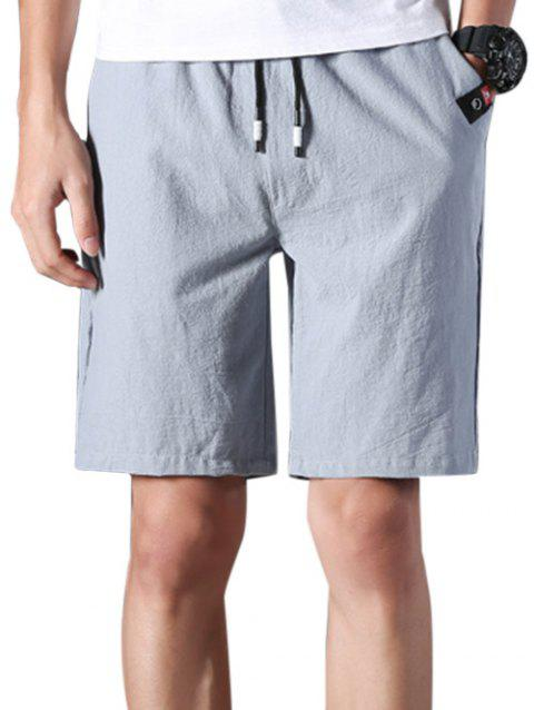 Elastic Waist Applique Casual Shorts - GRAY S