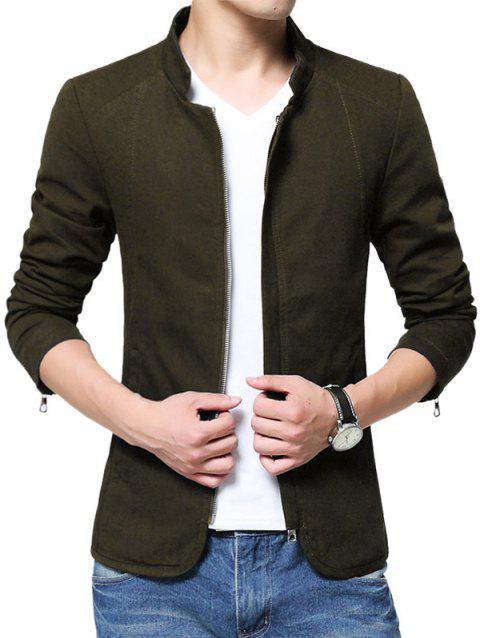 Solid Color Zip Up Stand Collar Jacket - ARMY GREEN L