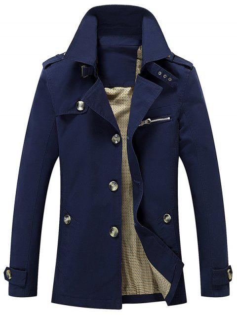 Button Up Turn Down Collar Epaulet Design Jacket - DEEP BLUE L