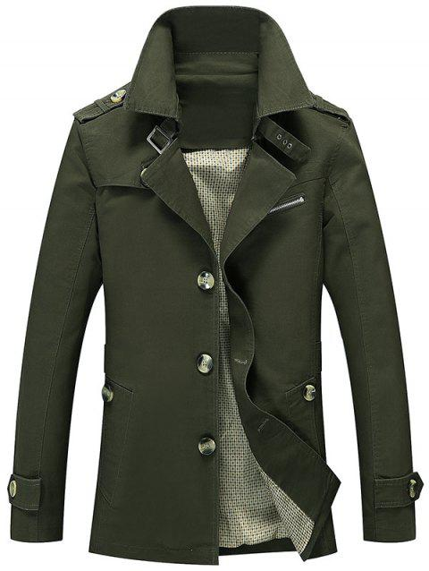 Button Up Turn Down Collar Epaulet Design Jacket - ARMY GREEN L