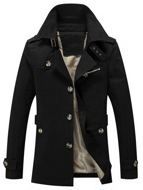 Button Up Turn Down Collar Epaulet Design Jacket - BLACK M